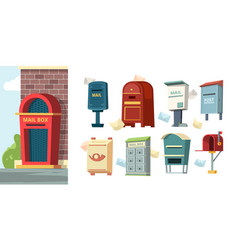 postal containers mailboxes with letters envelope vector image