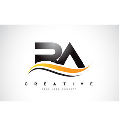 Ra r a swoosh letter logo design with modern vector