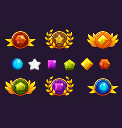 Receiving achievement awards round shield and gems vector