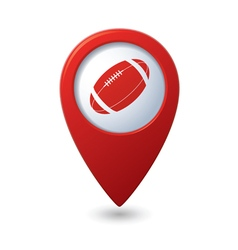 Red map pointer with american football icon vector