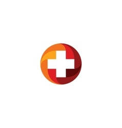Red medical cross logo round shape vector