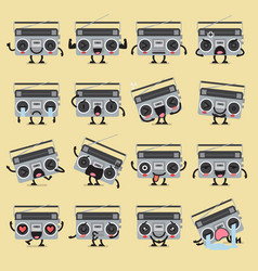Retro radio character emoji set vector