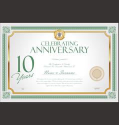 Retro vintage anniversary 10 years background 04 vector