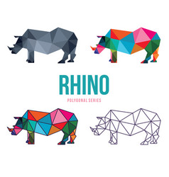 Rhino low poly design vector