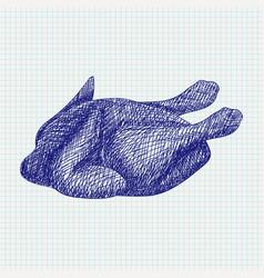 Roasted chicken blue sketch on notebook sheet vector