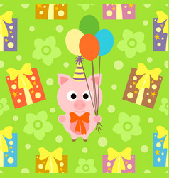 seamless background with funny pig vector image