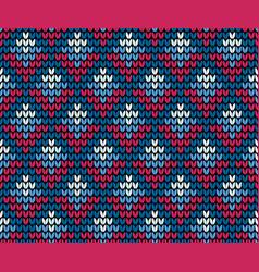 seamless blue squares knitting wallpaper vector image