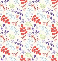 Seamless Hand Drawn Flowers and Foliage Pattern vector