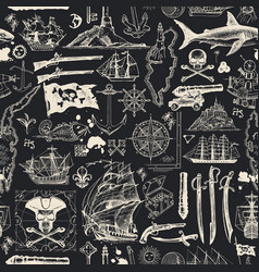 seamless pattern on pirate theme in vintage vector image