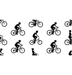 Seamless pattern with women riding bicycles vector