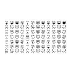 set of black cat emoji vector image