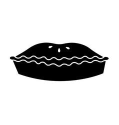 single black pie dessert icon vector image