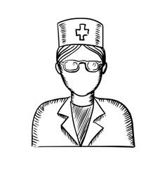 Sketch of a doctor or nurse vector