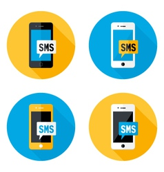 SMS Mobile Circle Flat Icons Set vector