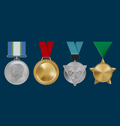 sport awards military rosettes leadership golden vector image