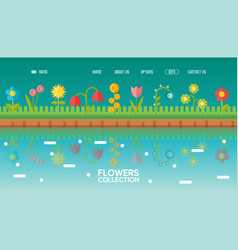 spring flowers in flat style for website design vector image