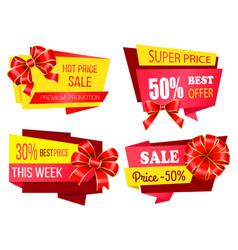 Super price sale 30 percent off promo banner set vector