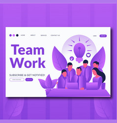 team work- flat landing page for teamwork vector image