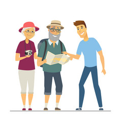 volunteer showing senior tourists way - flat vector image