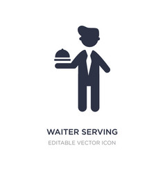 Waiter serving a drink on a tray icon on white vector