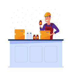 Warehouse worker packing goods in boxes vector