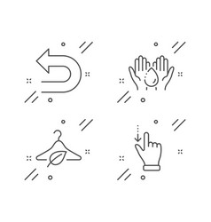 Wash hands undo and slow fashion icons set vector