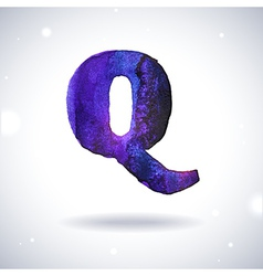 Watercolor letter Q vector image vector image