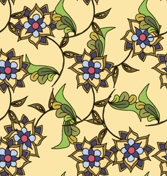 Yellow hand drawn floral seamless pattern vector image vector image