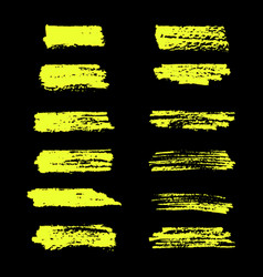 Yellow highlighter brush lines on black vector