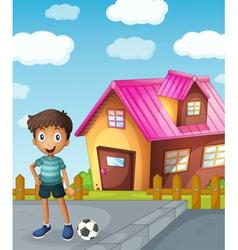 a boy football and house vector image vector image