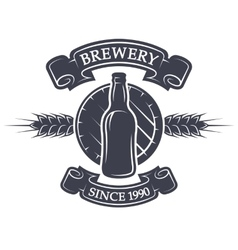 Barrel and bottle beer brewery emblem vector