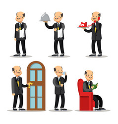 butler cartoon set man with serving tray vector image vector image