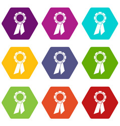 champion medal icon set color hexahedron vector image vector image