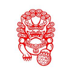 chinese foo dog vector image vector image