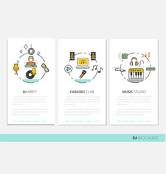 dj music party linear business brochures vector image vector image