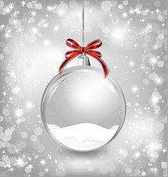 Empty snow-globe with red bow vector image