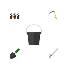 Flat icon farm set of pail cutter hay fork and vector