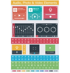 Flat photo video and audio app UI elements vector image vector image
