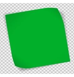 Green paper sticker over transparent background vector image vector image