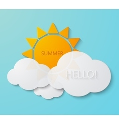 modern sun with clouds background vector image vector image