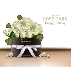 white roses flowers bouquet card realistic vector image vector image