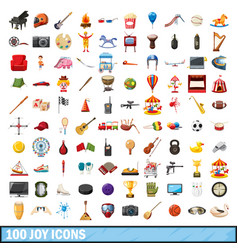 100 joy icons set cartoon style vector image