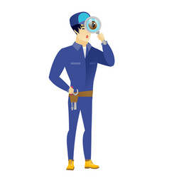 asian mechanic with magnifying glass vector image