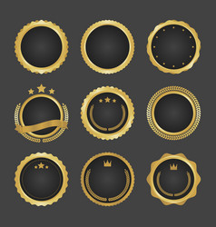 collection of modern gold circle metal badges vector image vector image