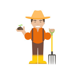 farmer or gardener with pitchfork vector image