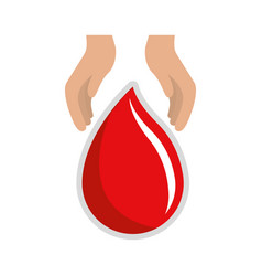 hands with blood drop donation symbol vector image vector image