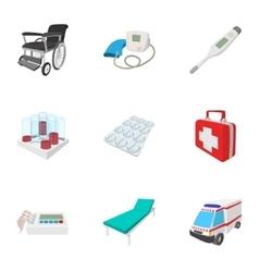 Healing icons set cartoon style vector