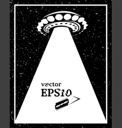 Monochrome ufo invasion frame vector
