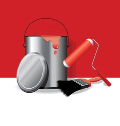 red paint pot banner vector image