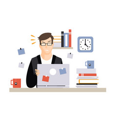 stressed busy young businessman character sitting vector image